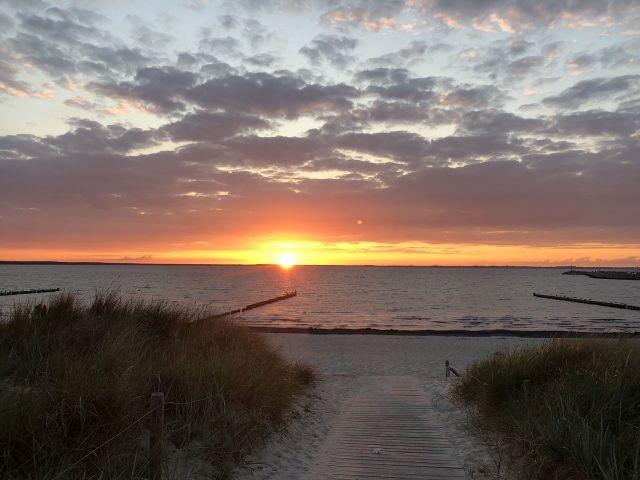 Sonnenuntergang am Glower Strand
