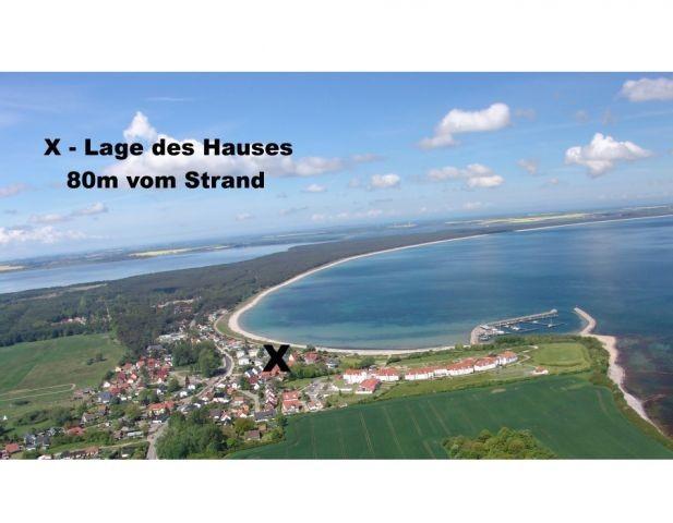 Lage des Hauses 80m vom Strand
