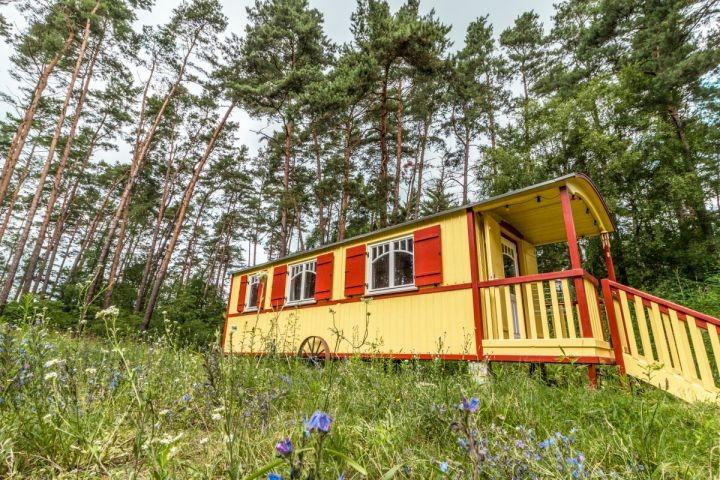 Zirkuswagen inmitten von Wald und Wiesen