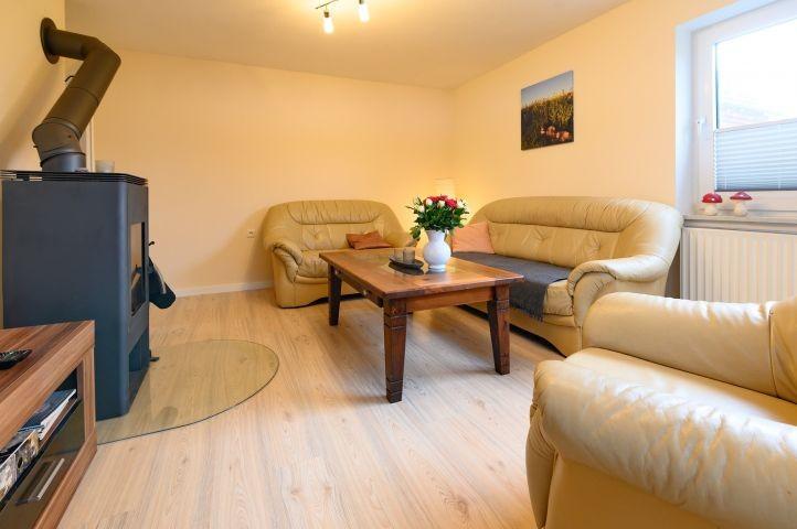 Blick auf Sofa und Kaminofen