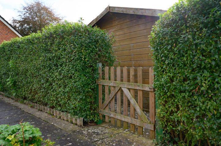 Hecke und Holztor