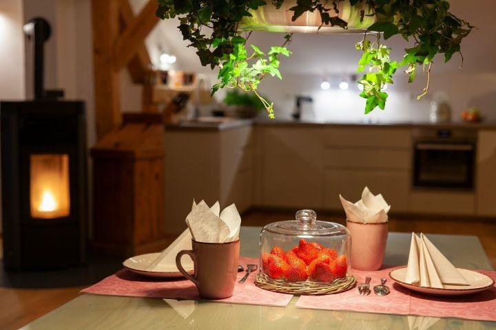 Kamin im Küchen-/Essbereich