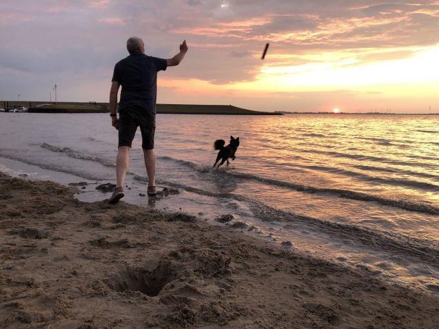 Spaß bei Sonnenuntergang in Dangast