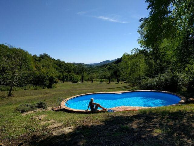 Pool mit Blick über die Wiese ins Tal