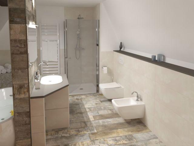 Toilette und Bidet im oberen Bad
