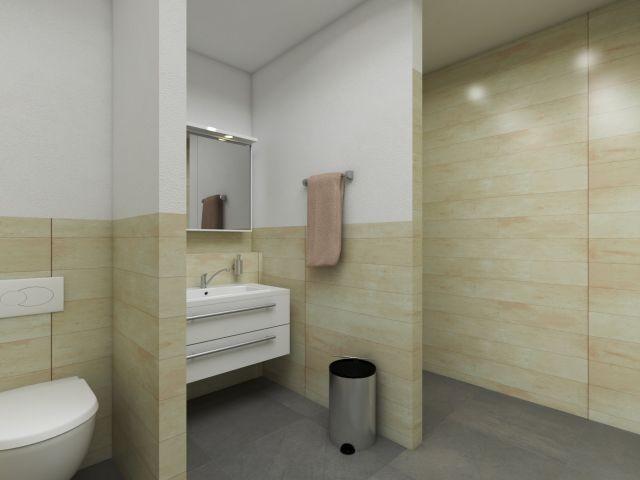 Badezimmer im hellen Standhaus-Stil