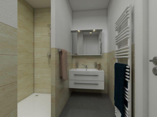 Ebenerdige Dusche in der Apartmentanlage Zwei Wasser