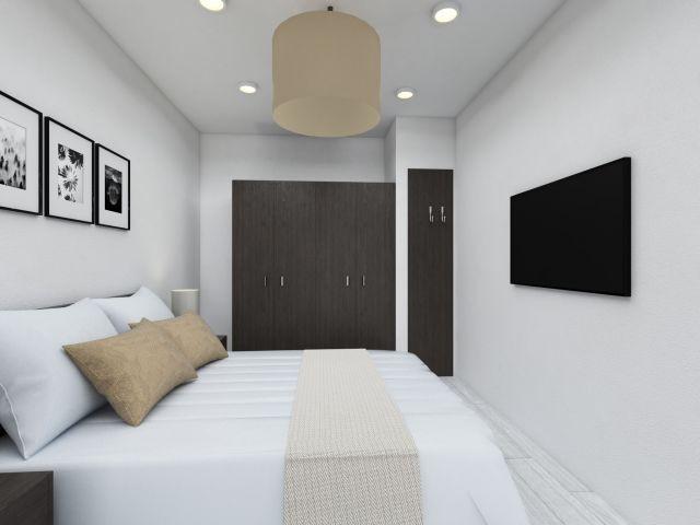 Das innenliegende Kapitänsschlafzimmer in der Ferienwohnung Dünenkieker