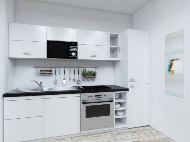 Voll ausgestattete Nolte Einbauküche in der Ferienwohnung Kaptain's Huus
