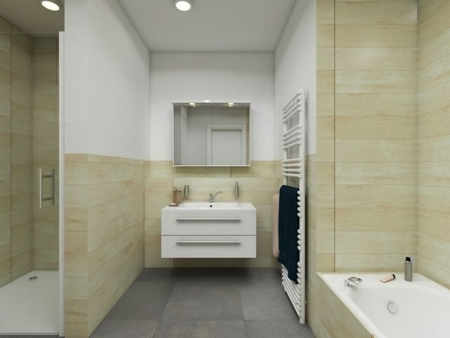 mit ebenerdiger Dusche und Badewanne