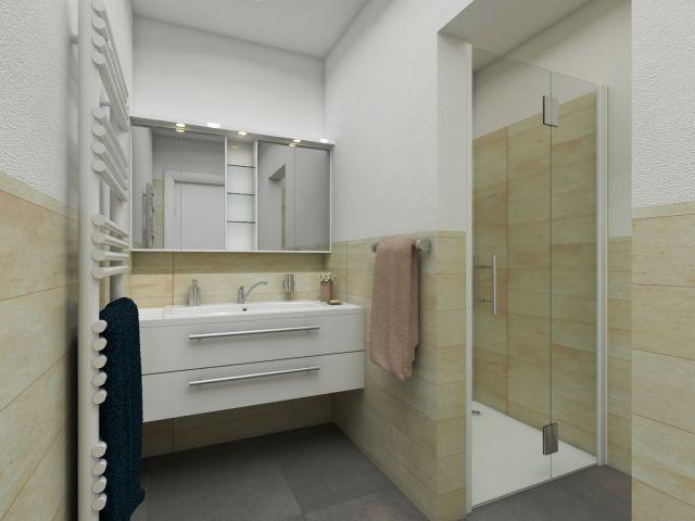 Badezimmer mit ebenerdiger Dusche im Strandhaus-Stil