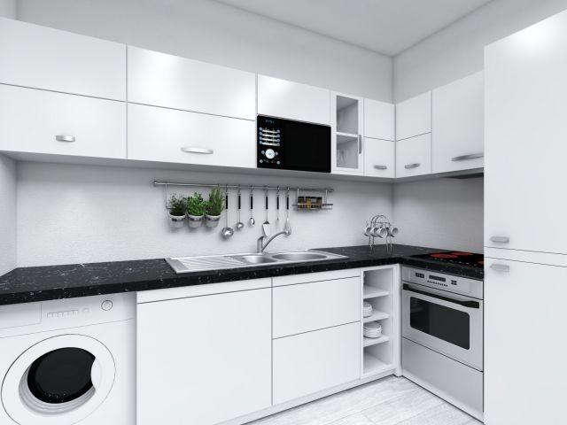 Vollausgestattete Nolte-Einbauküche mit Waschtrockner
