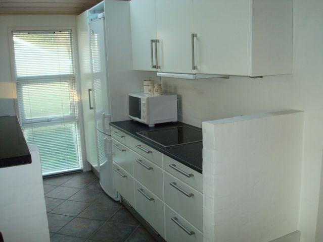 Küche mit Kühlschrank, Gefrierschrank, Mikrowelleofen usw