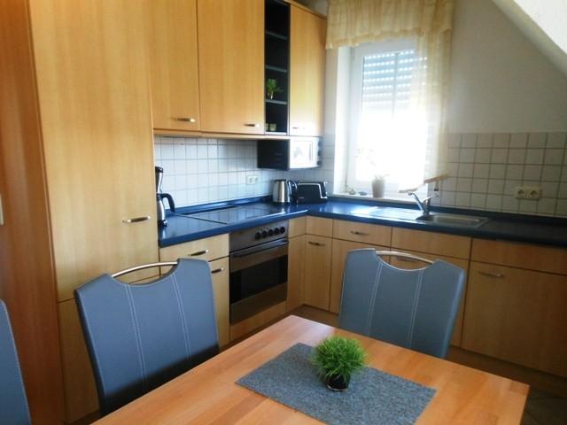 Küche mit Spülmaschine und Backofen