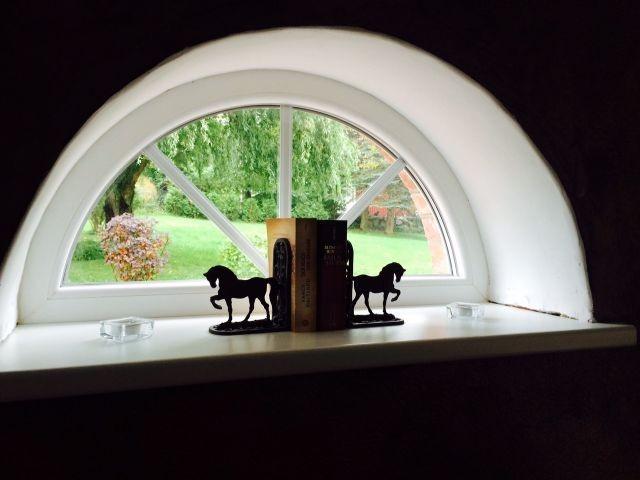 Ausblick vom Esstisch in den Garten